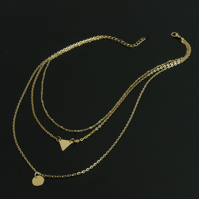Sequins Triangles Tassel Multilayer Necklace