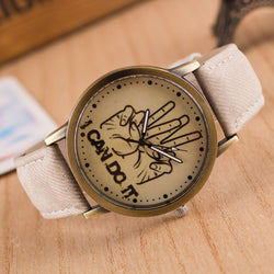 British Retro Denim Print Comics Watch