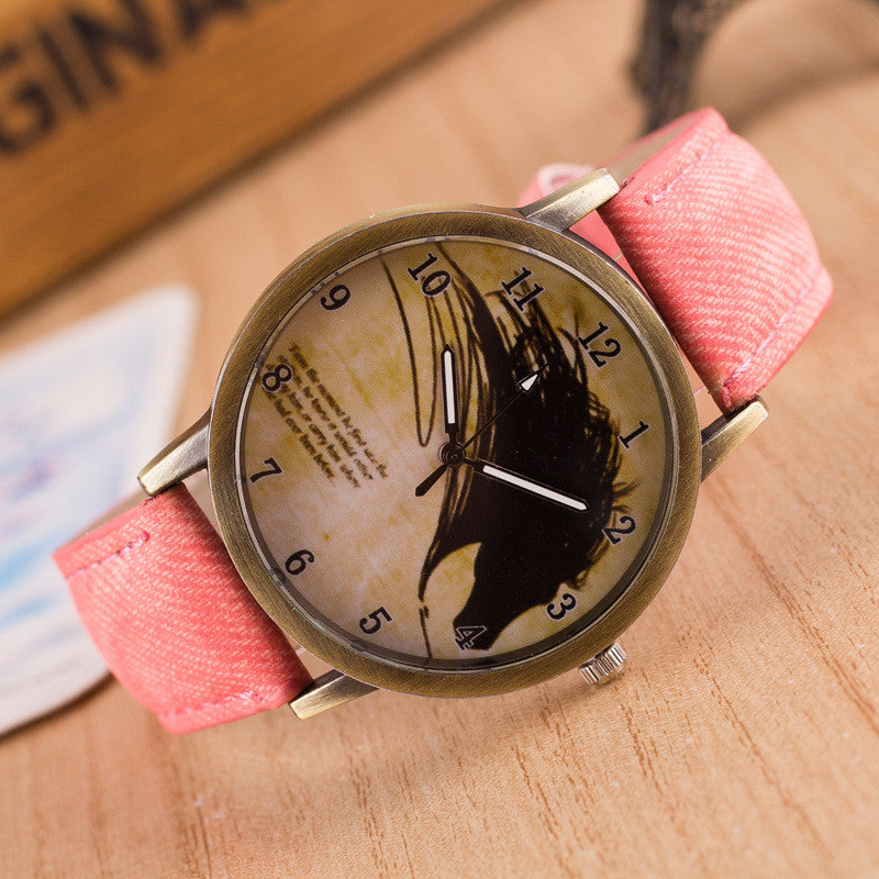 Retro Scrawl Denim Watch