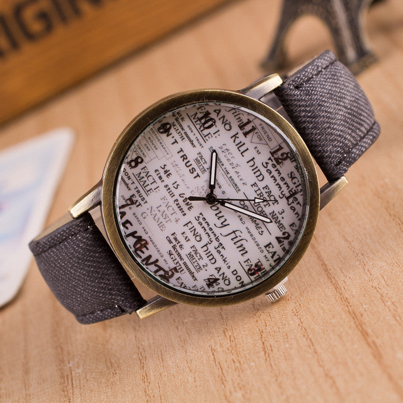British Retro Denim Scrawl Watch