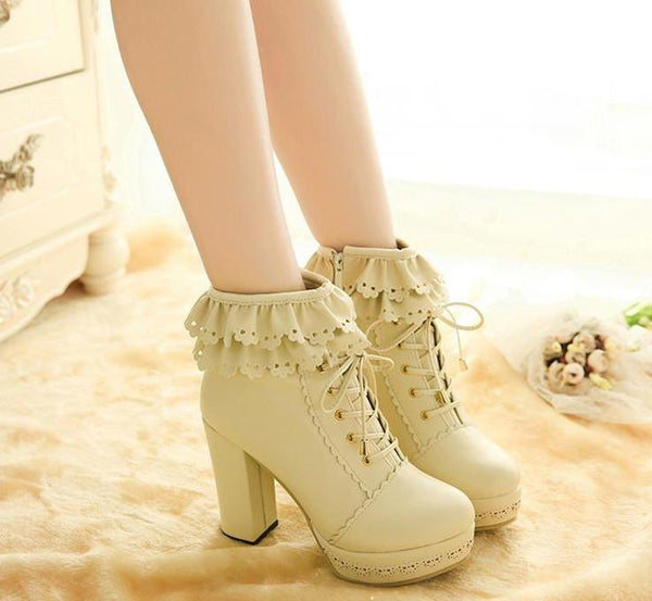 Fashion Lace Side Zipper Knight Ankle Boots