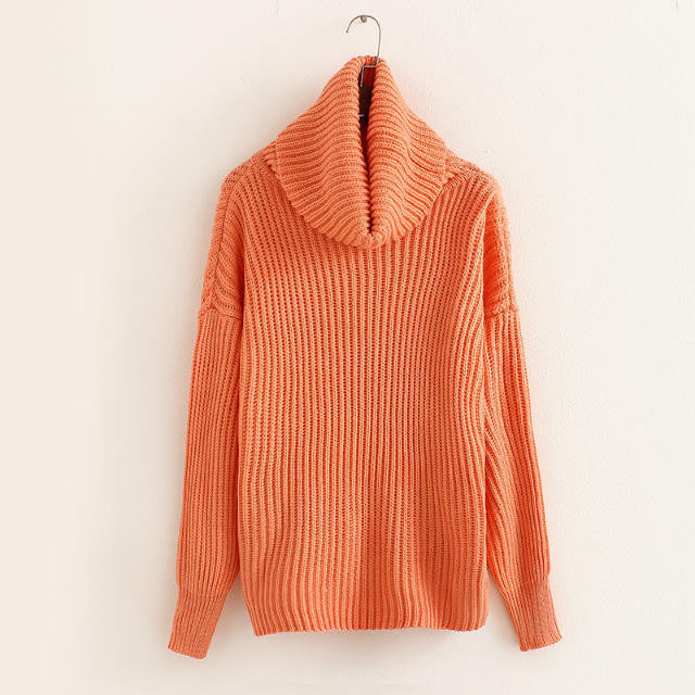 Lapel Pullover Loose High Collar Solid Sweater - May Your Fashion - 10