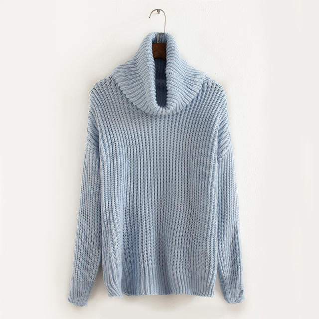 Lapel Pullover Loose High Collar Solid Sweater - May Your Fashion - 11
