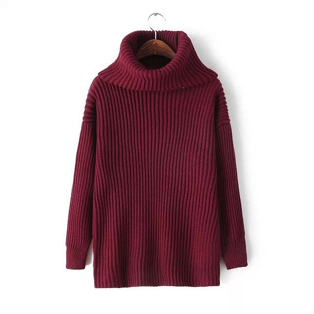 Lapel Pullover Loose High Collar Solid Sweater - May Your Fashion - 6