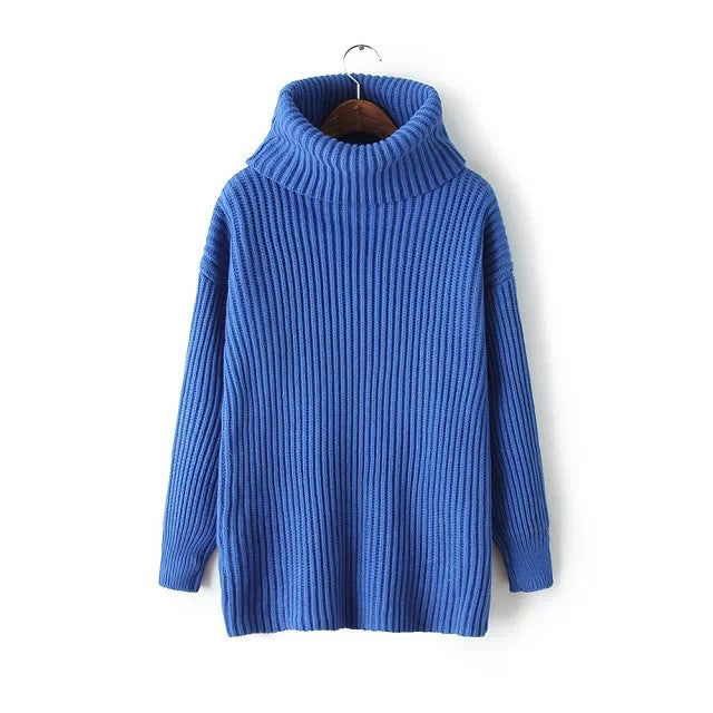 Lapel Pullover Loose High Collar Solid Sweater - May Your Fashion - 3