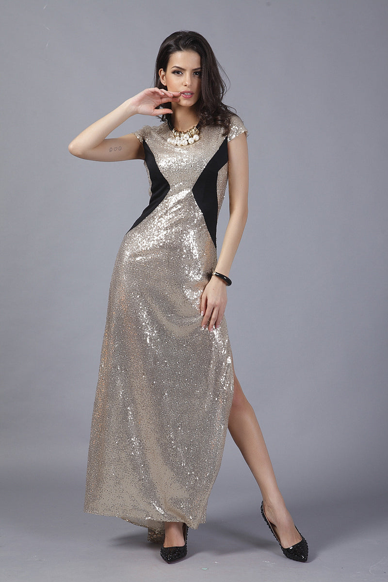 Sexy Sequins Patchwork Bodycon Split Long Dress