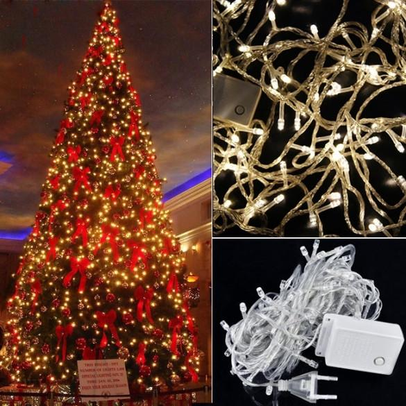 High Quality 10M 100 LED Warm White Lights Decorative Christmas Party Twinkle String 110V