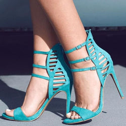 Green Suede Buckle Cutout Open Toe High Heel Sandals