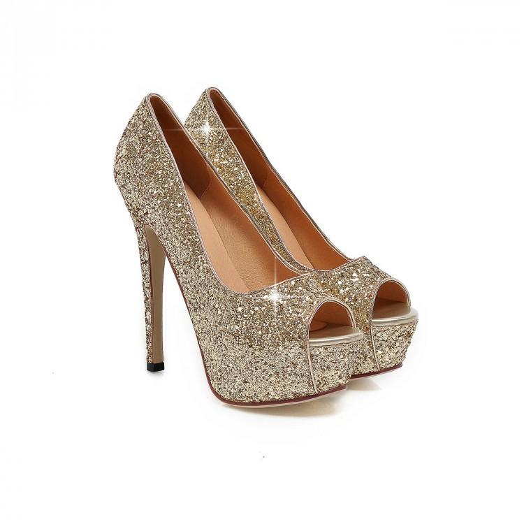Sequins Peep-Toe Sexy High Heeled Bride Sandals Shoes