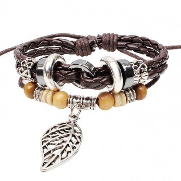 4 Retro Styles Bracelet Synthetic Leather Weave Braid Bracelet