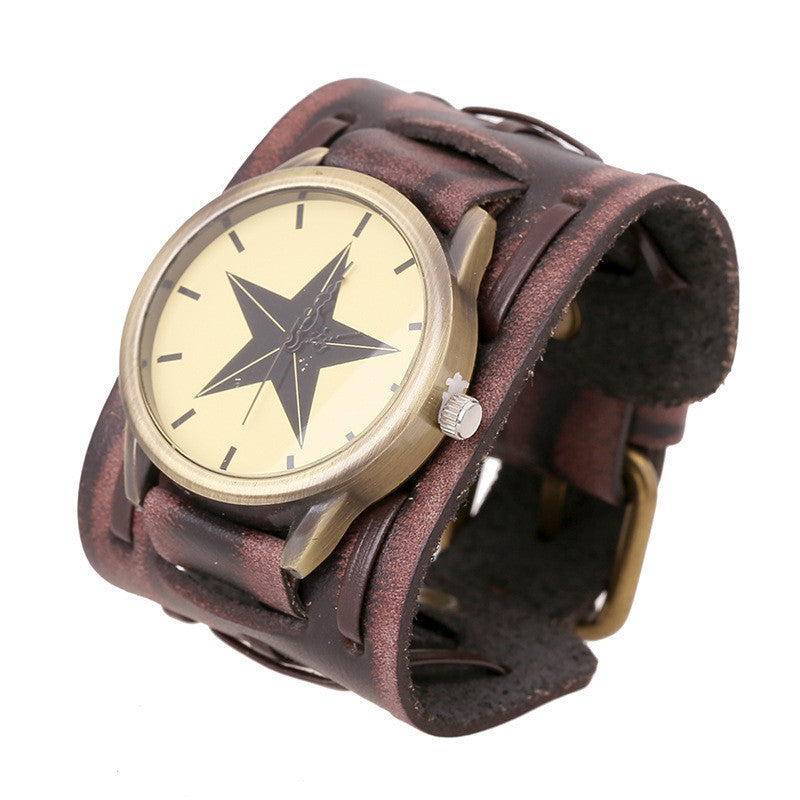 Punk Style Star Dial Leather Woven Watch