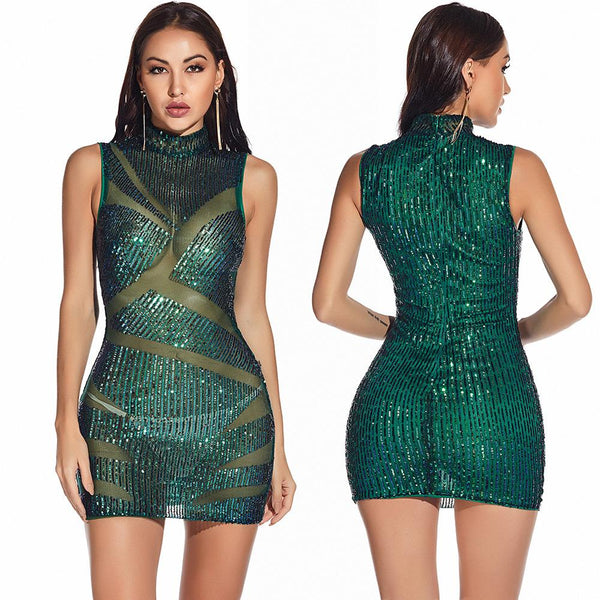 Mesh patchwork Sequin Party Dress