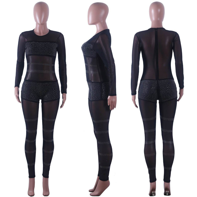 Women's Fashion Mesh See Through Bodycon Pants Hot Drilling Jumpsuit Clubwear