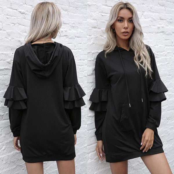 Hooded lotus Sleeve Sweater Dress