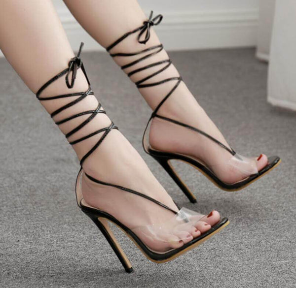Bandage Transparent Patchwork Pointed Toe Ankle Wrap Stiletto High Heels