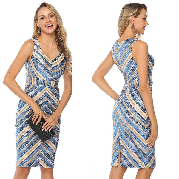 V-neck Stripe Sequin Dress
