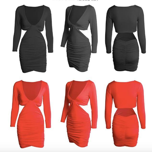 Sexy V-neck Long Sleeve hollow out Short Irregular Bodycon Dress