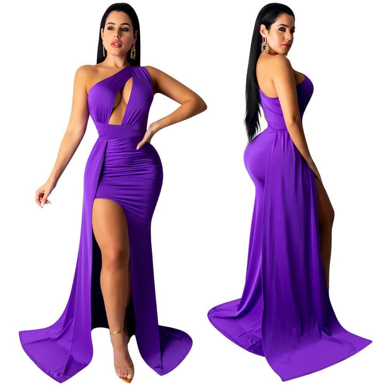 Sexy Women Sleeveless Bandage Blackless Party Long Purple Dress