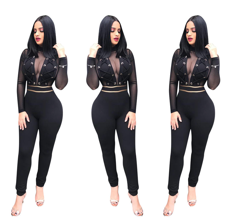 Transparent Lace Long Sleeves High Waist Long Jumpsuits