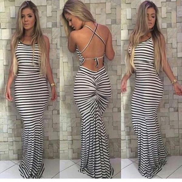 Sleeveless Backless Spaghetti Strap Stripe Long Dress