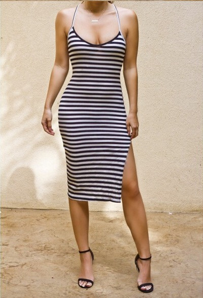 Sexy Fashion Hot Sale  Striped Low-cup Slim Straps Dress