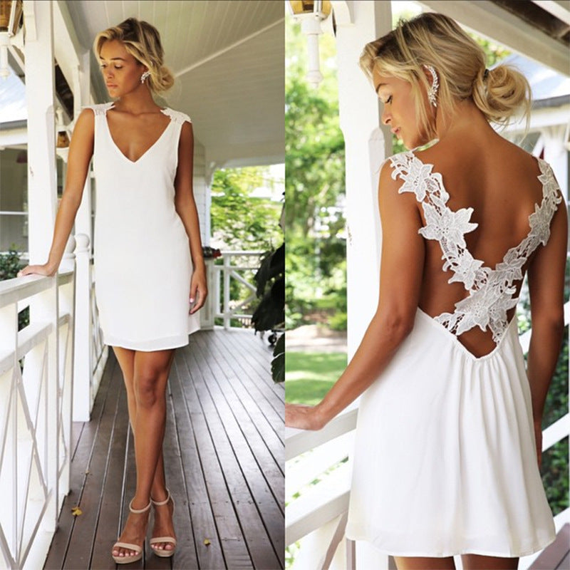 V-neck Pure Color White Chiffon Short Lace Backless Dress