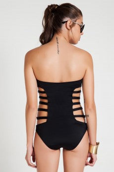Sexy Strapless Hollow Out Bandage One Piece Swimwears