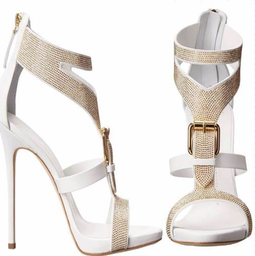 Diamond Suede Open-toe Zipper Stiletto High Heels Party Sandals