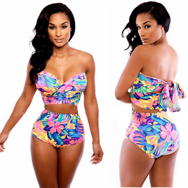 Stylish Lady Women Sexy Bandage Bodycon Tops High Waist Briefs Swimsuit 2PCS Floral Swimwear