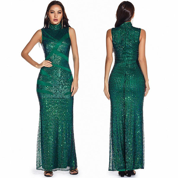 Retro Green Sequin Long Dress