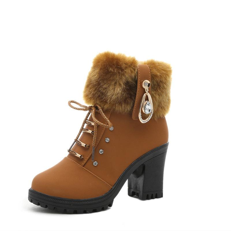 Crystal Fur Decorate Lace Up Chunky Heel Boots