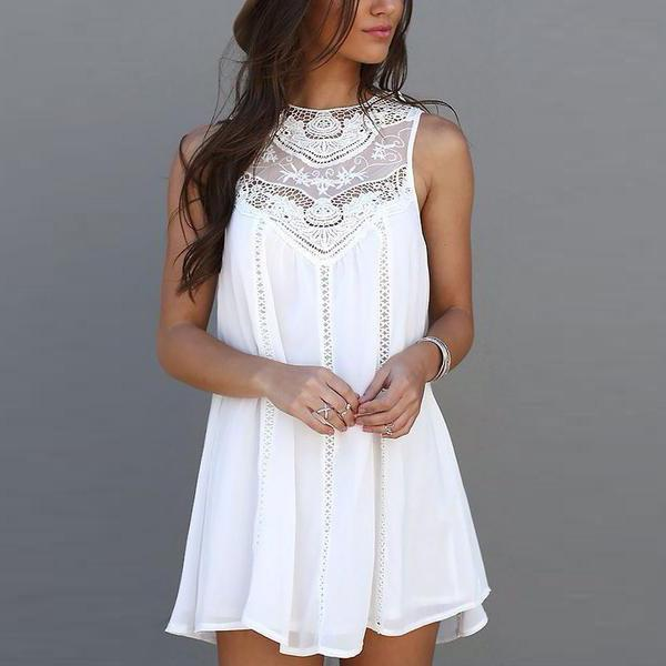 Free Shipping Clearence Sleeveless Crochet Hollow Shift Short Loose Dress