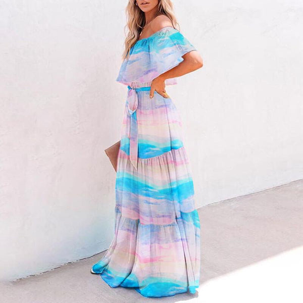 Off Shoulder Printed Beach Dress