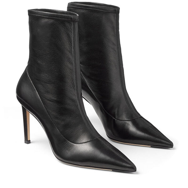Sexy PU Plain Point Toe Strap High Heel Ankle Boots