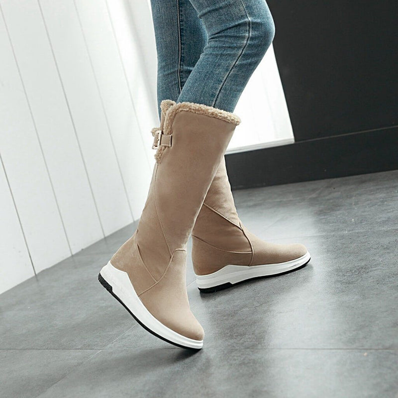 Flat Suede Round Toe Mid Calf Boots