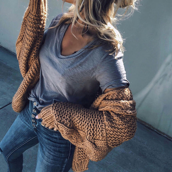 Cable Crochet Knitted Cardigan