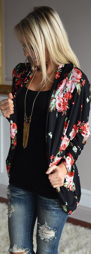 Floral Print Long Sleeves Irregular Long T-shirt