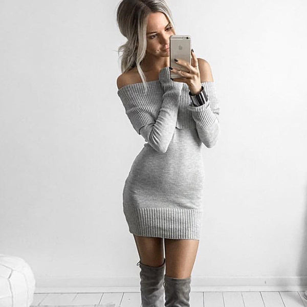 Long Sleeves Pure Color Off Shoulder Long Sweater