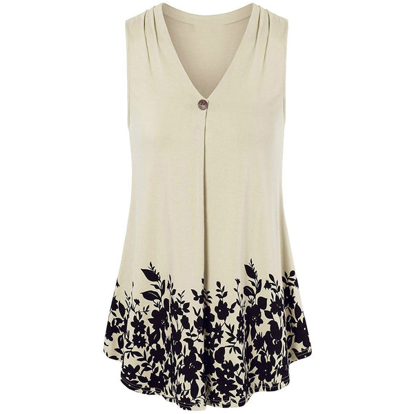 V-neck Loose Print Sleeveless Long T-shirt