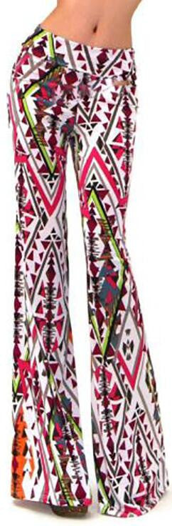 Color Geometry Print High Waist Wide Leg Pants