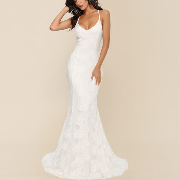 White Sling Floor Length Mermaid Dress