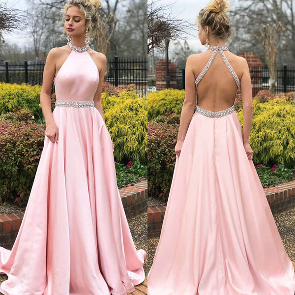 Backless Large Hem Halter Dress