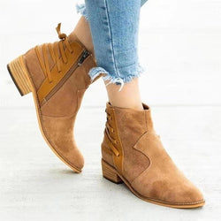 Low Heel Suede Ankle Boots