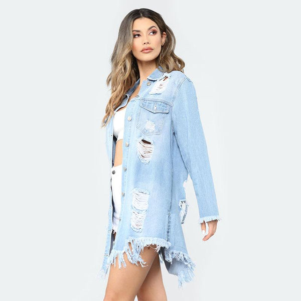 Slim Ripped Denim Shirt Jacket