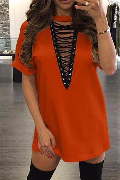 Pure Color Straps Hollow Out Half Sleeves V-neck Loose Short Dress