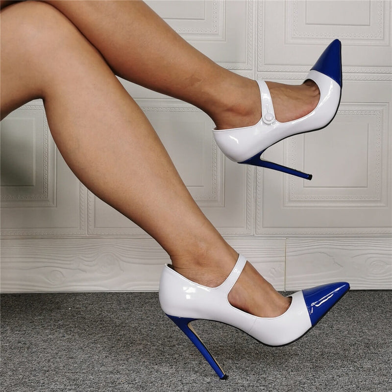 Sexy White PU Point Toe Buckle High Heels
