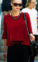 1/2 Bell Sleeves Pure Color Fashion Slim Blouse
