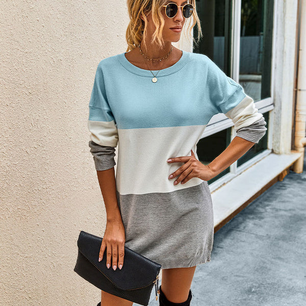 Slim Colorblock Sweater Dress
