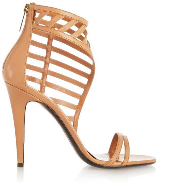 Nude High Heels Cutout Leather Sandals