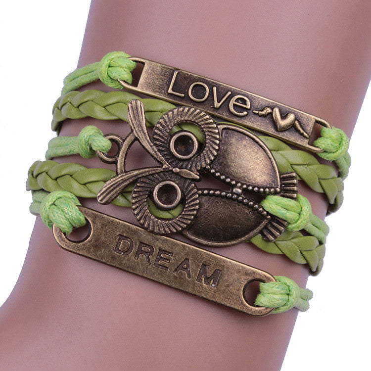 Green Love Dream Owl Handmade Bracelet